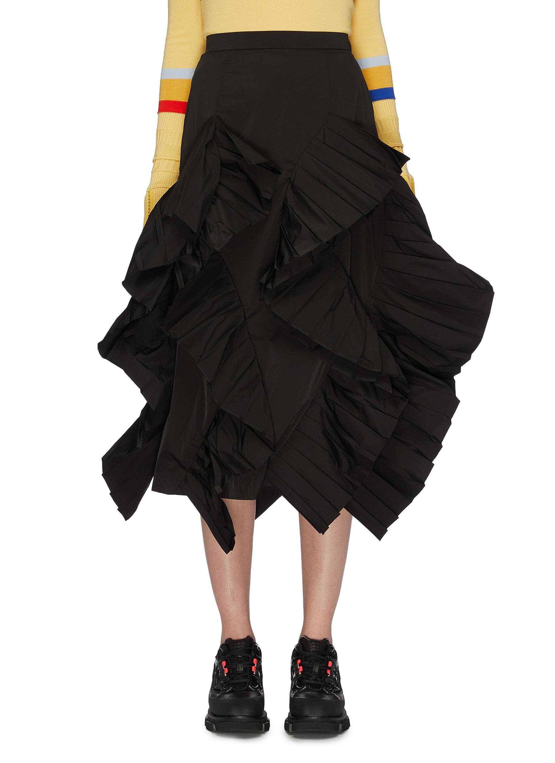 Frill pleated layered twill skirt by Enföld