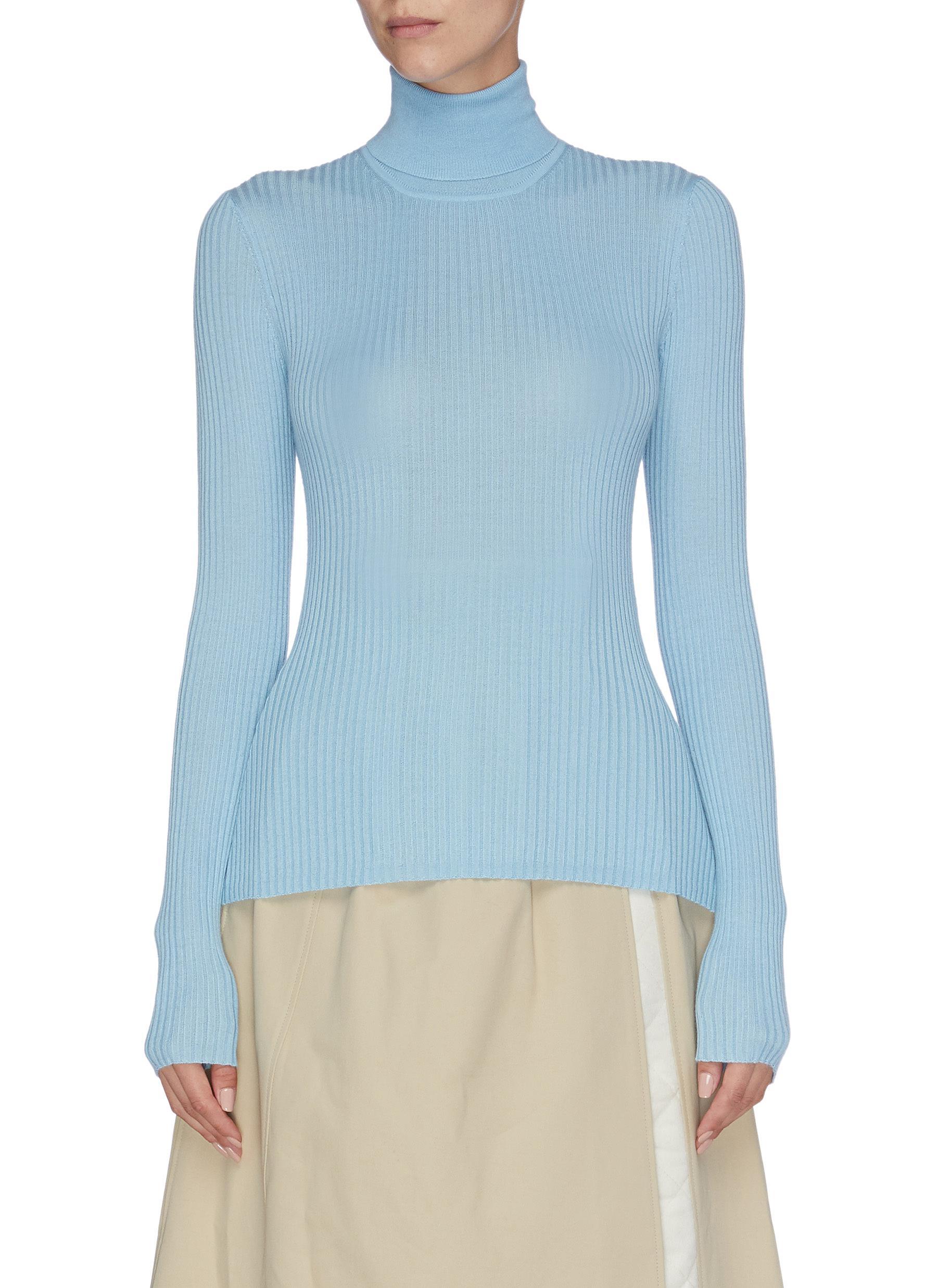 Peppe cashmere-silk rib knit turtleneck top by Gabriela Hearst