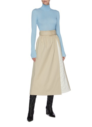 Figure View - Click To Enlarge - GABRIELA HEARST - 'Leonid' belted quilt panel midi skirt