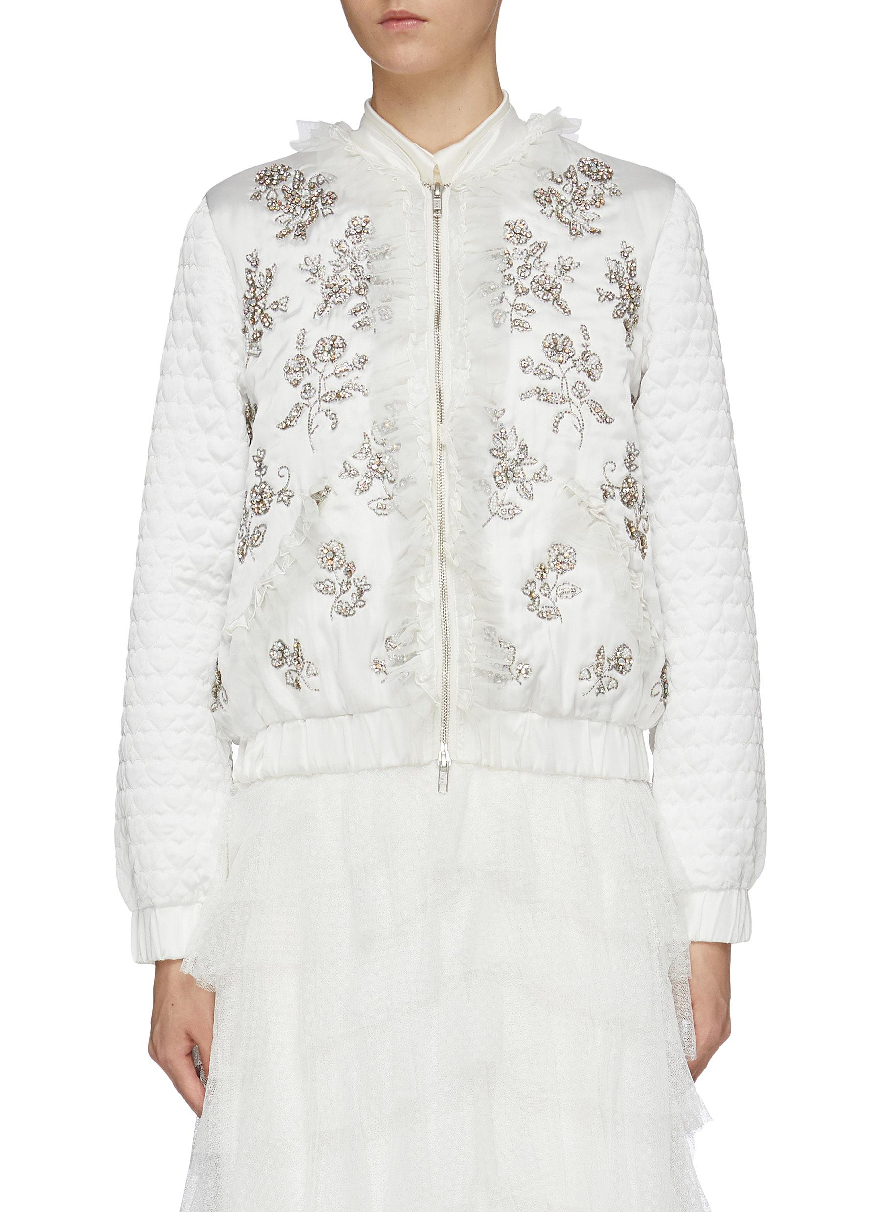 Gemstone floral embellished ruffle trim satin bomber jacket by Needle & Thread