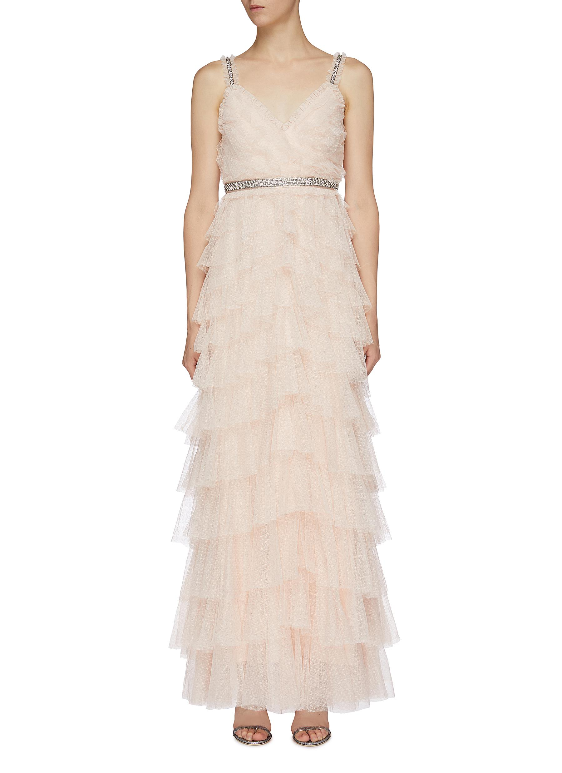 Leilah embellished strap ruffle tiered tulle gown by Needle & Thread