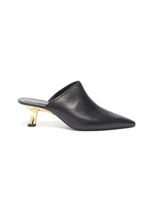 Main View - Click To Enlarge - SIMON MILLER - 'Kicker Tee' metal heel leather mules
