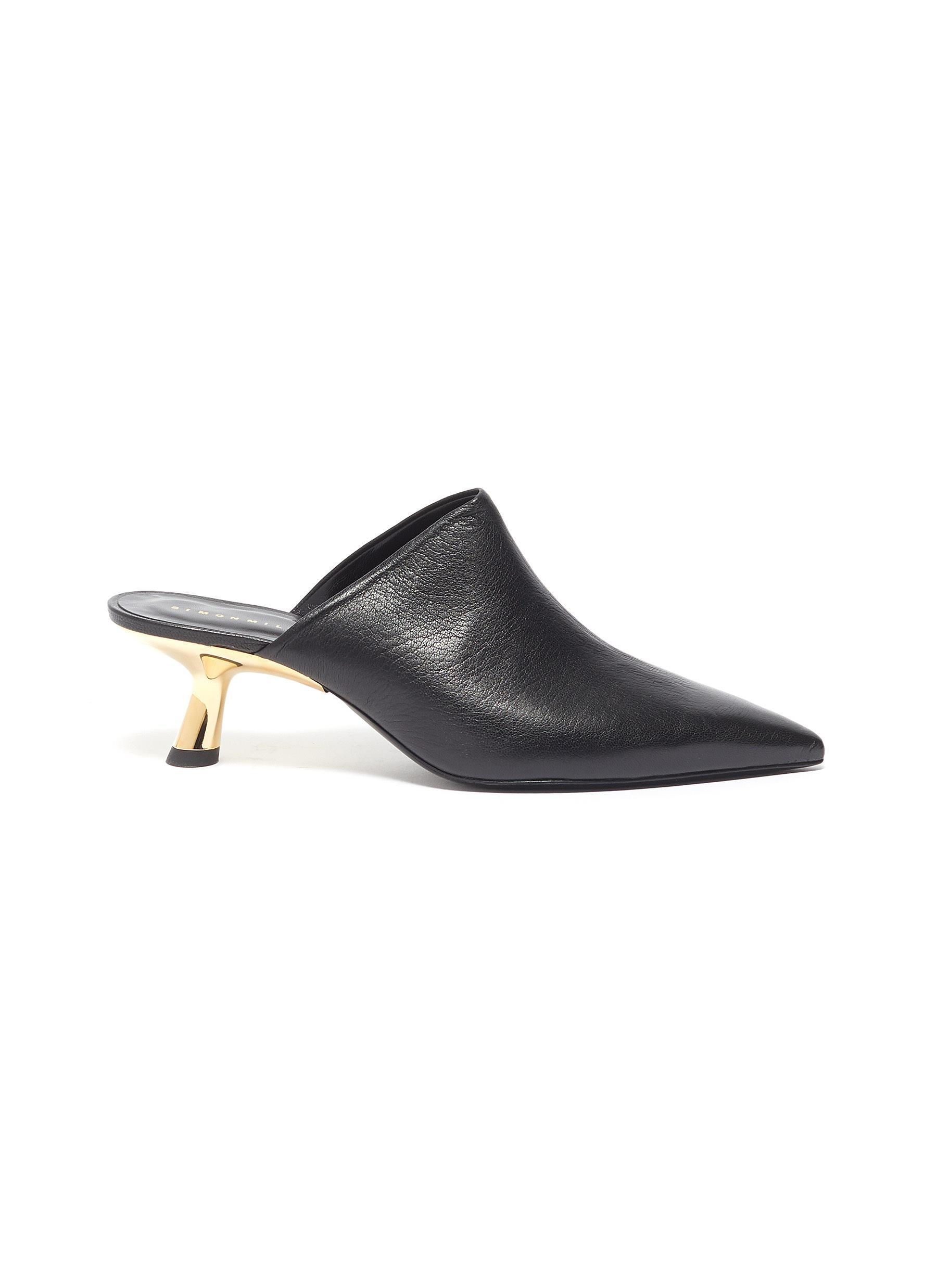 Kicker Tee metal heel leather mules by Simon Miller
