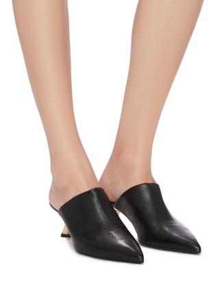 Figure View - Click To Enlarge - SIMON MILLER - 'Kicker Tee' metal heel leather mules