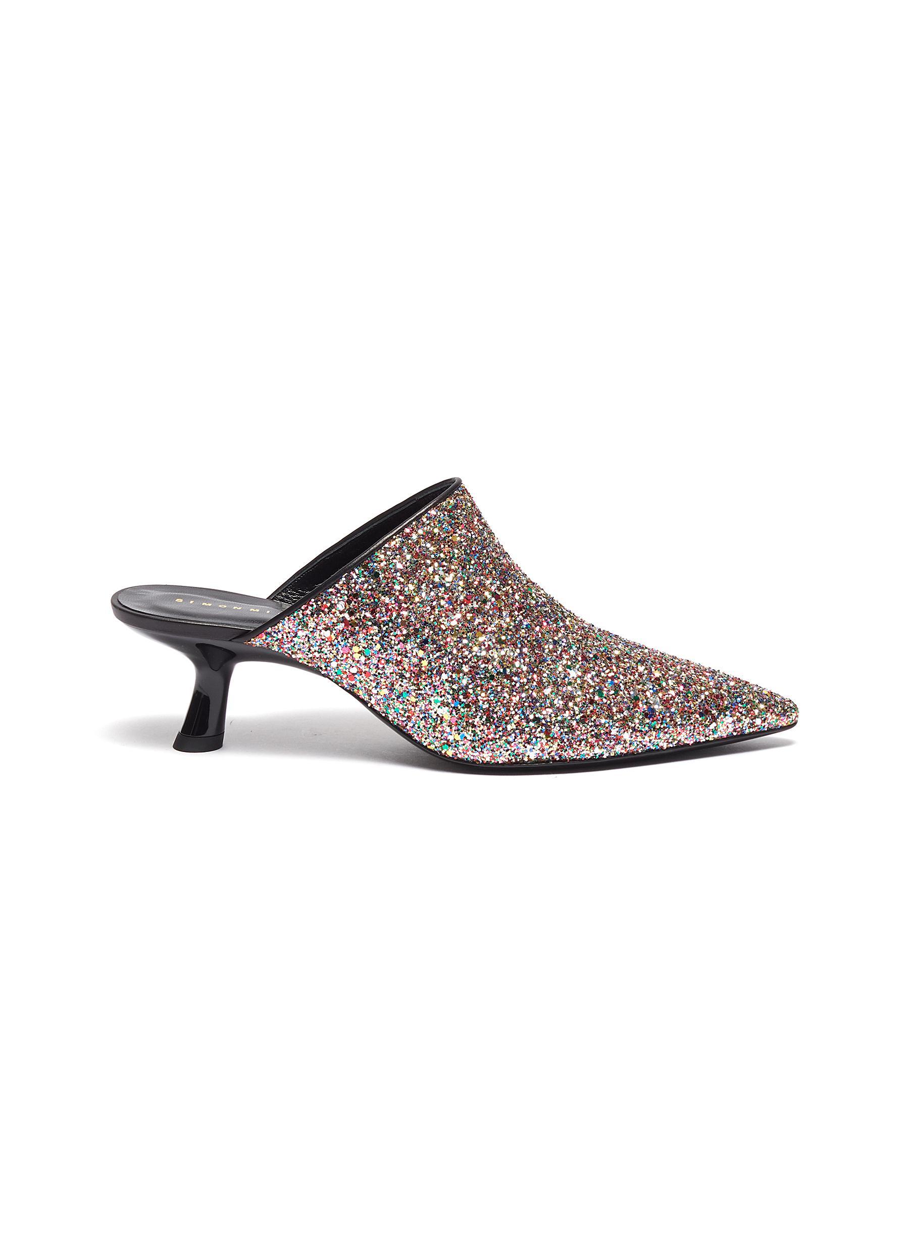 Kicker Tee heel glitter mules by Simon Miller