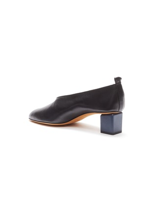 - GRAY MATTERS - 'Mildred' cube heel choked-up leather pumps