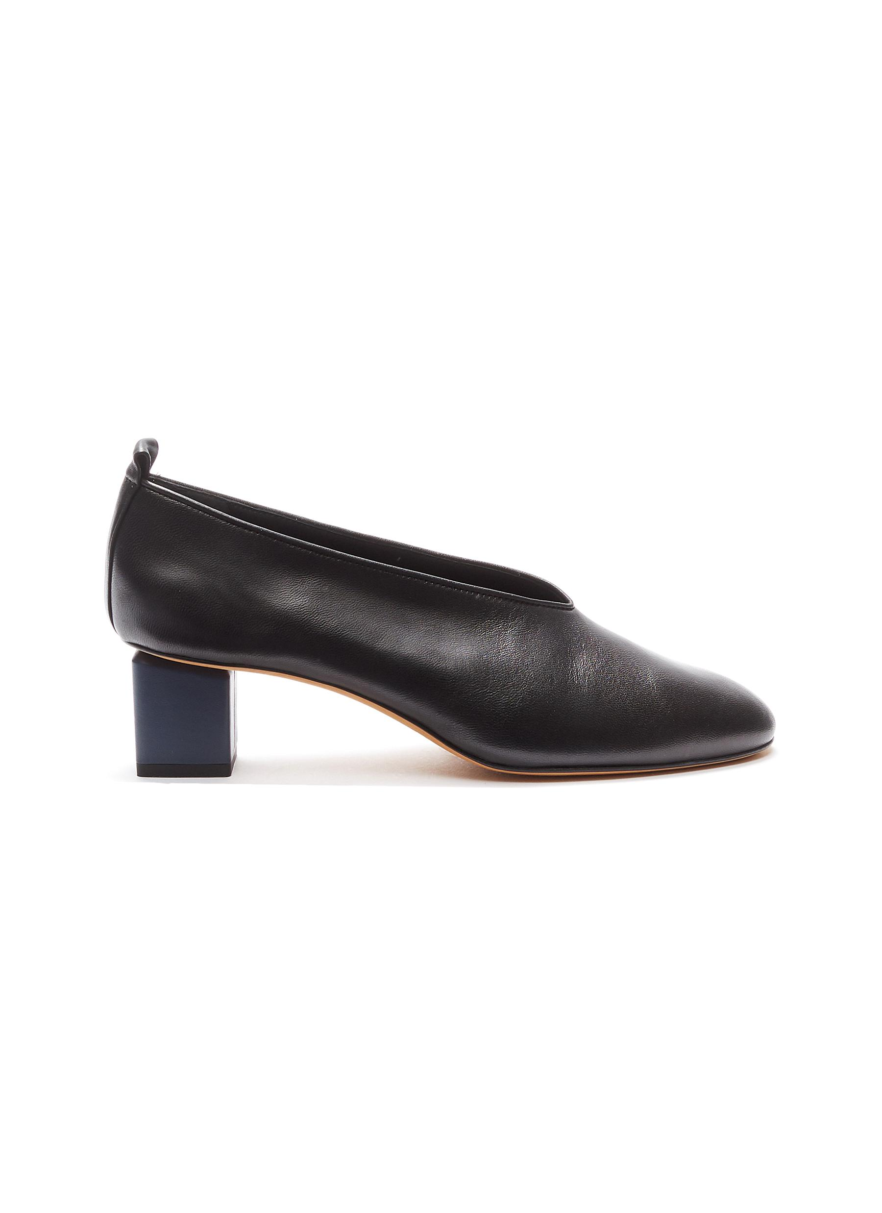 Mildred cube heel choked-up leather pumps by Gray Matters