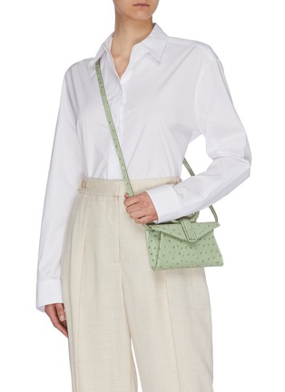 Front View - Click To Enlarge - COMPLÉT - 'Valery' micro ostrich embossed leather envelope belt bag