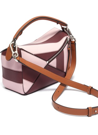 Detail View - Click To Enlarge - LOEWE - 'Puzzle Rugby' stripe patchwork small leather bag