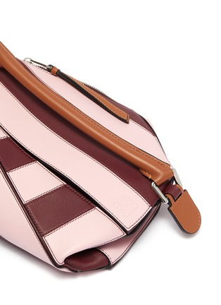 - LOEWE - 'Puzzle Rugby' stripe patchwork small leather bag