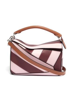 Main View - Click To Enlarge - LOEWE - 'Puzzle Rugby' stripe patchwork small leather bag