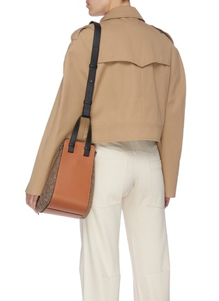 Front View - Click To Enlarge - LOEWE - 'Hammock' small leather and tweed bag