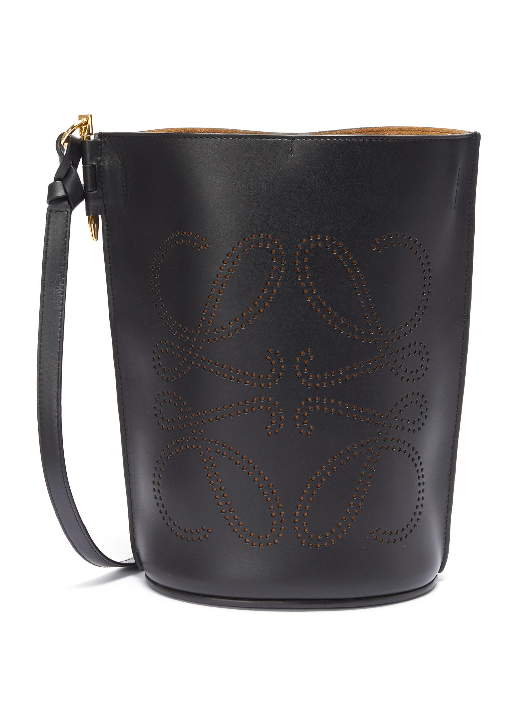 'Gate' perforated anagram leather bucket bag