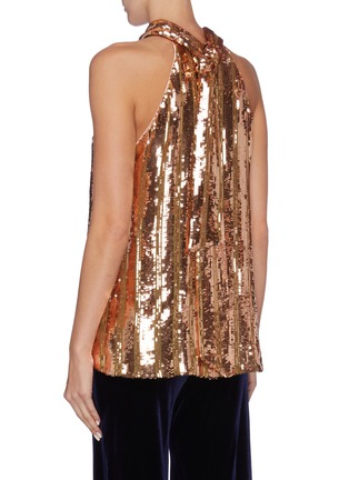 Back View - Click To Enlarge - GALVAN LONDON - 'Stardust' sash tied neck sequin sleeveless top