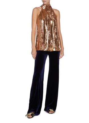 Figure View - Click To Enlarge - GALVAN LONDON - 'Stardust' sash tied neck sequin sleeveless top