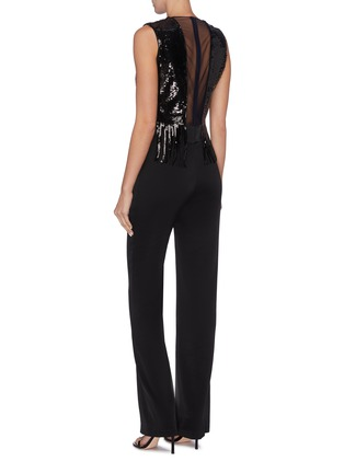 Back View - Click To Enlarge - GALVAN LONDON - 'Lena' fringe sequin tulle panel sleeveless jumpsuit