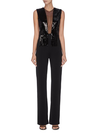 Main View - Click To Enlarge - GALVAN LONDON - 'Lena' fringe sequin tulle panel sleeveless jumpsuit