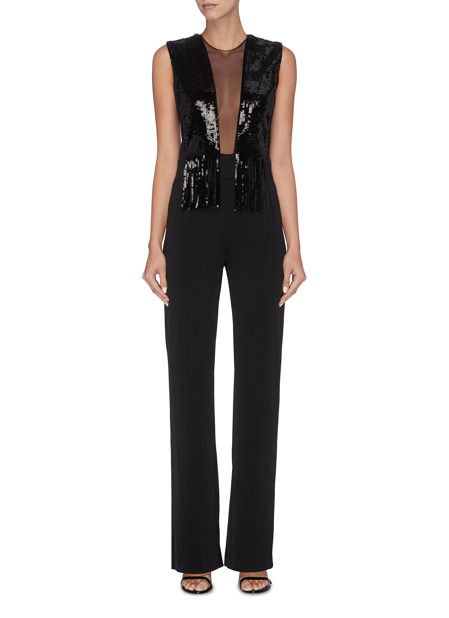 Lena fringe sequin tulle panel sleeveless jumpsuit by Galvan London