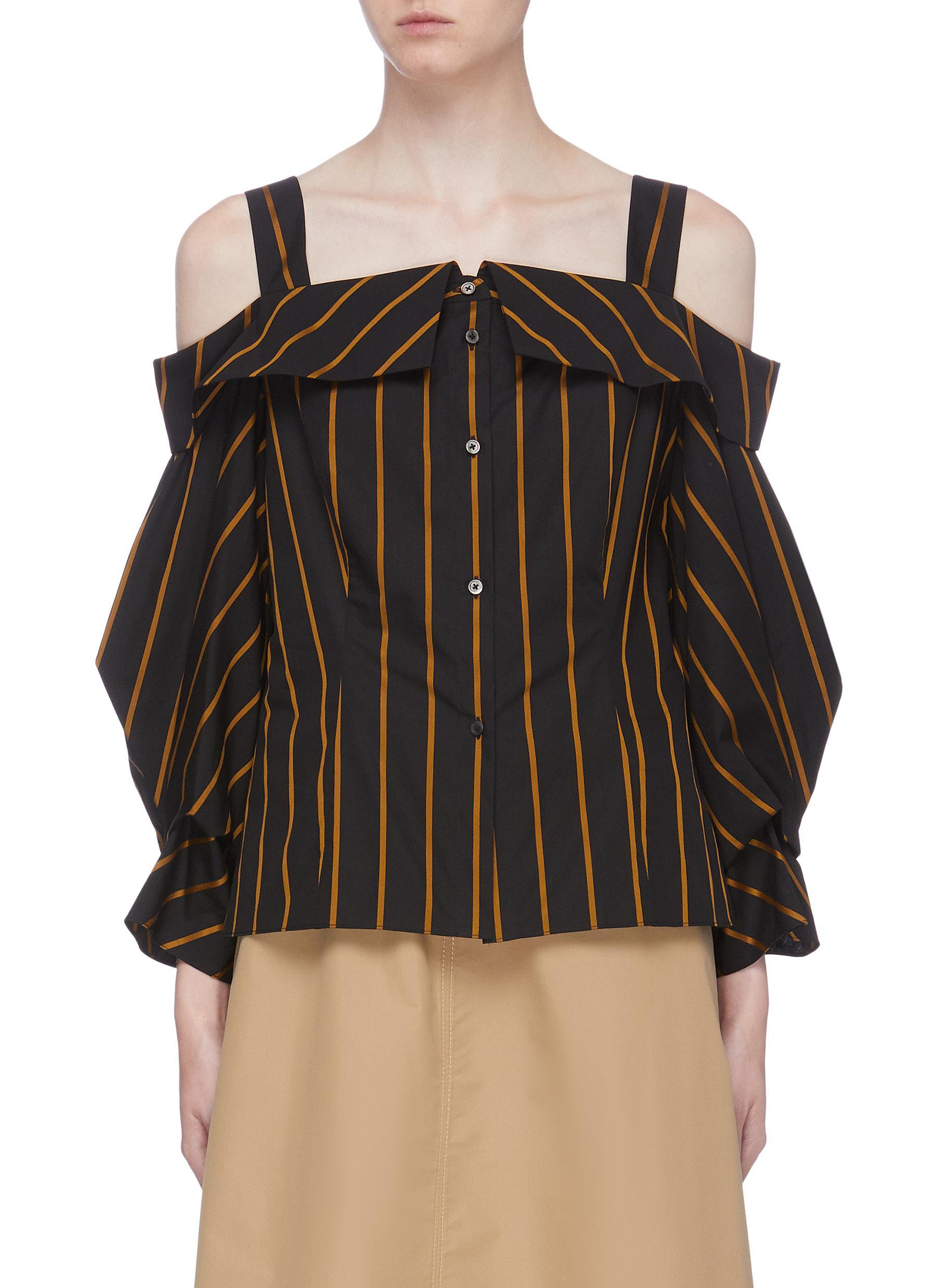 Cold shoulder stripe blouse by Portspure