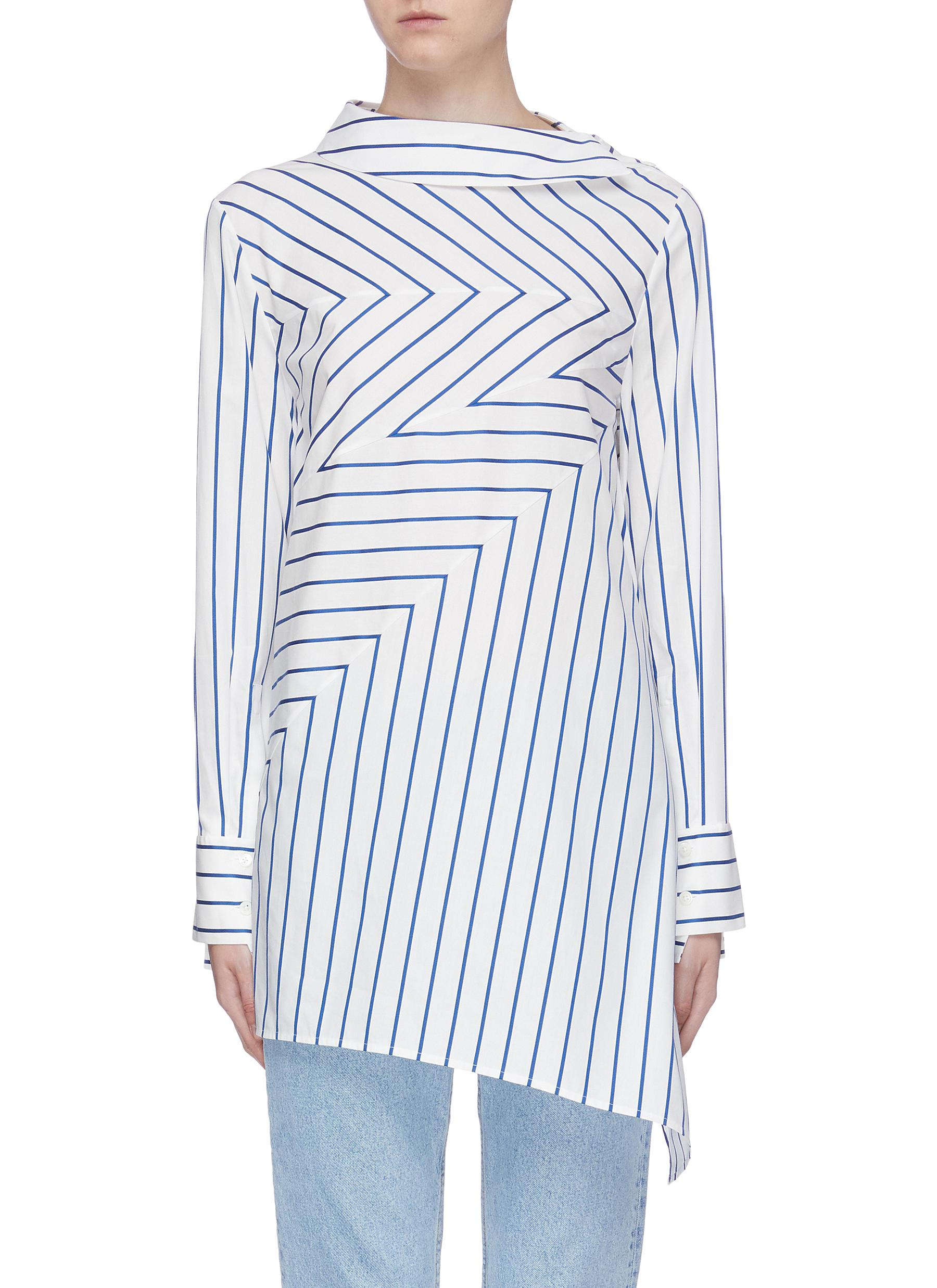 Panelled stripe tunic top by Portspure