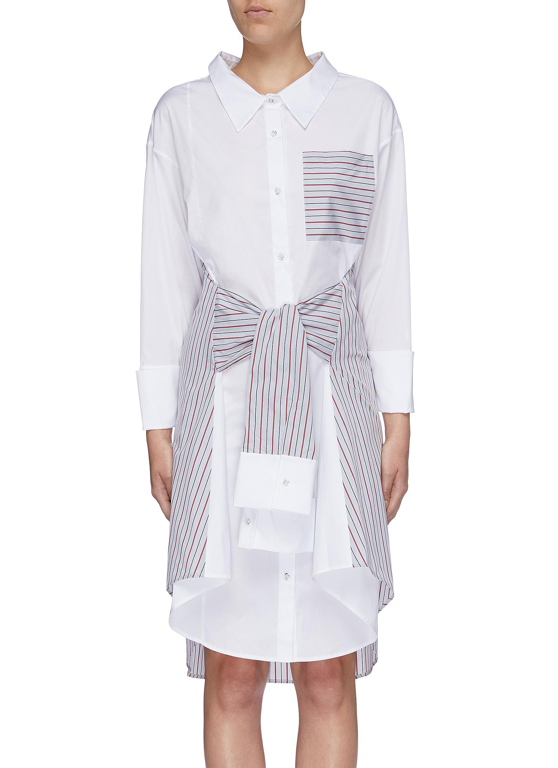 Sleeve tie colourblock stripe panel shirt dress by Portspure