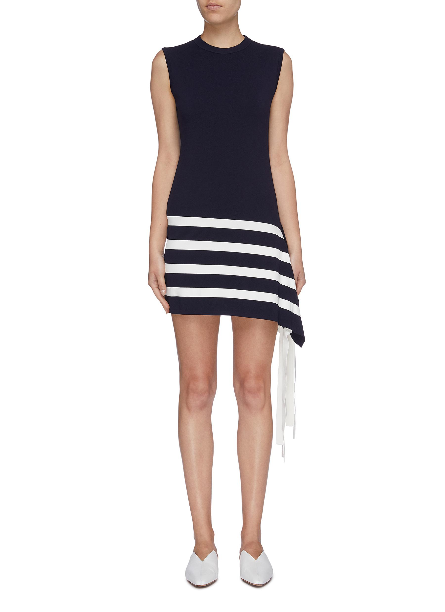 Fringe stripe sleeveless shift dress by Portspure