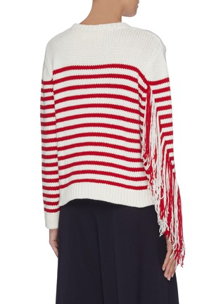 Back View - Click To Enlarge - PORTSPURE - Frayed panel stripe sweater