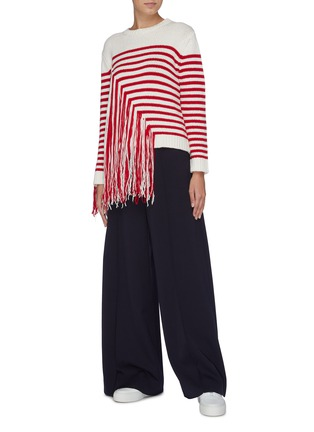 Figure View - Click To Enlarge - PORTSPURE - Frayed panel stripe sweater