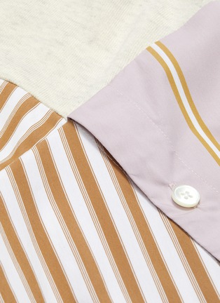 - PORTSPURE - Belted stripe shirt panel colourblock sweatshirt