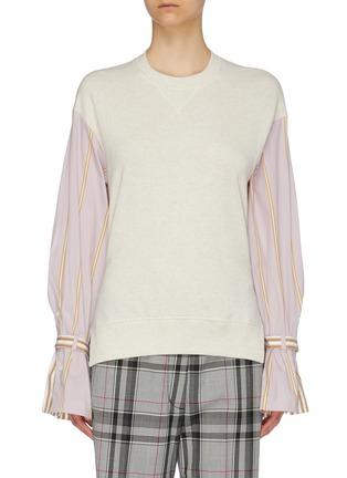 Main View - Click To Enlarge - PORTSPURE - Belted stripe shirt panel colourblock sweatshirt