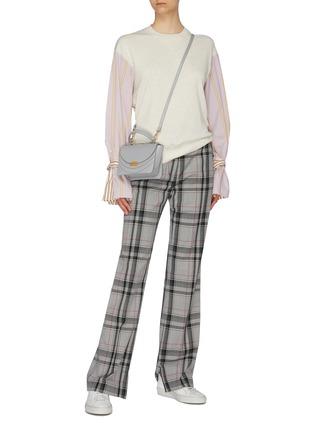 Figure View - Click To Enlarge - PORTSPURE - Belted stripe shirt panel colourblock sweatshirt