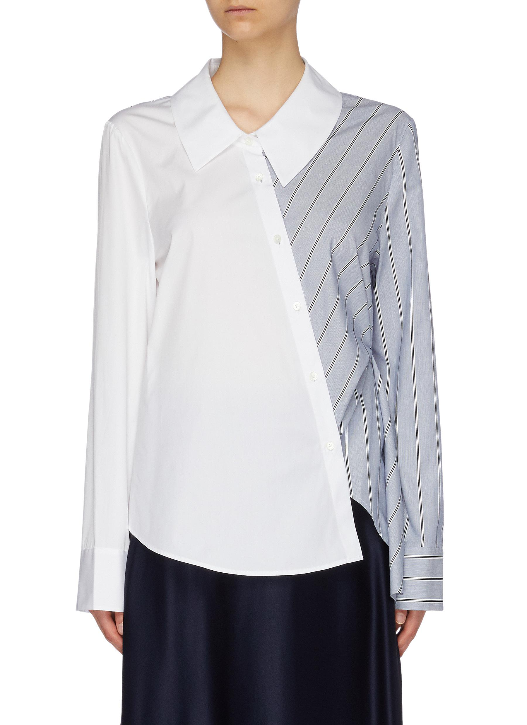 Asymmetric colourblock stripe panel shirt by Portspure