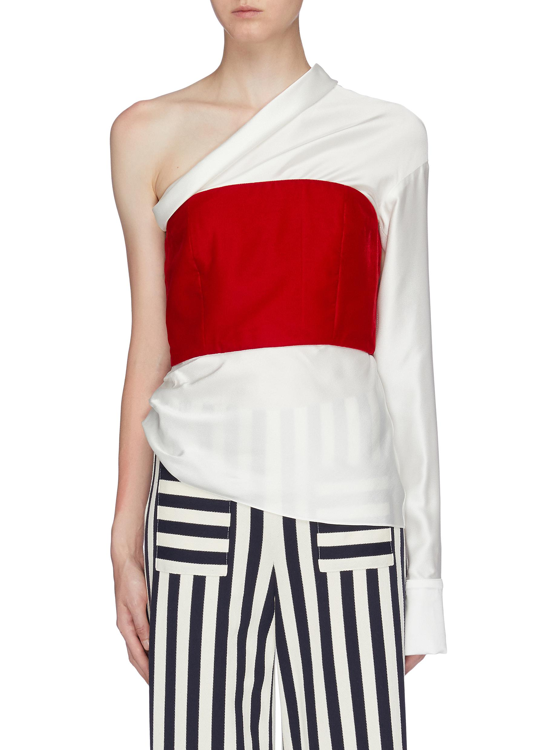 Paloma contrast bustier panel one-shoulder top by Hellessy