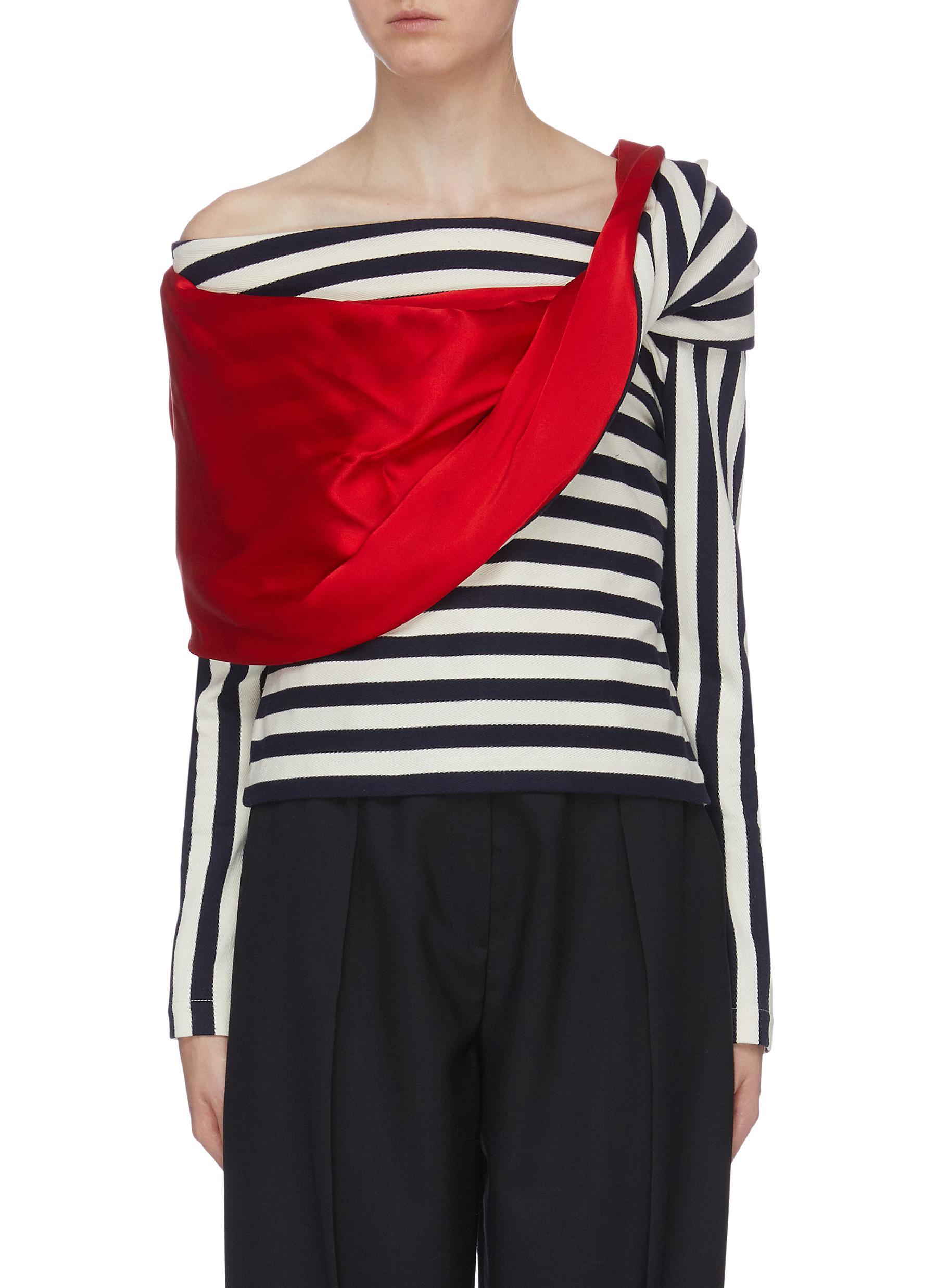 Streisand colourblock stripe herringbone one-shoulder top by Hellessy