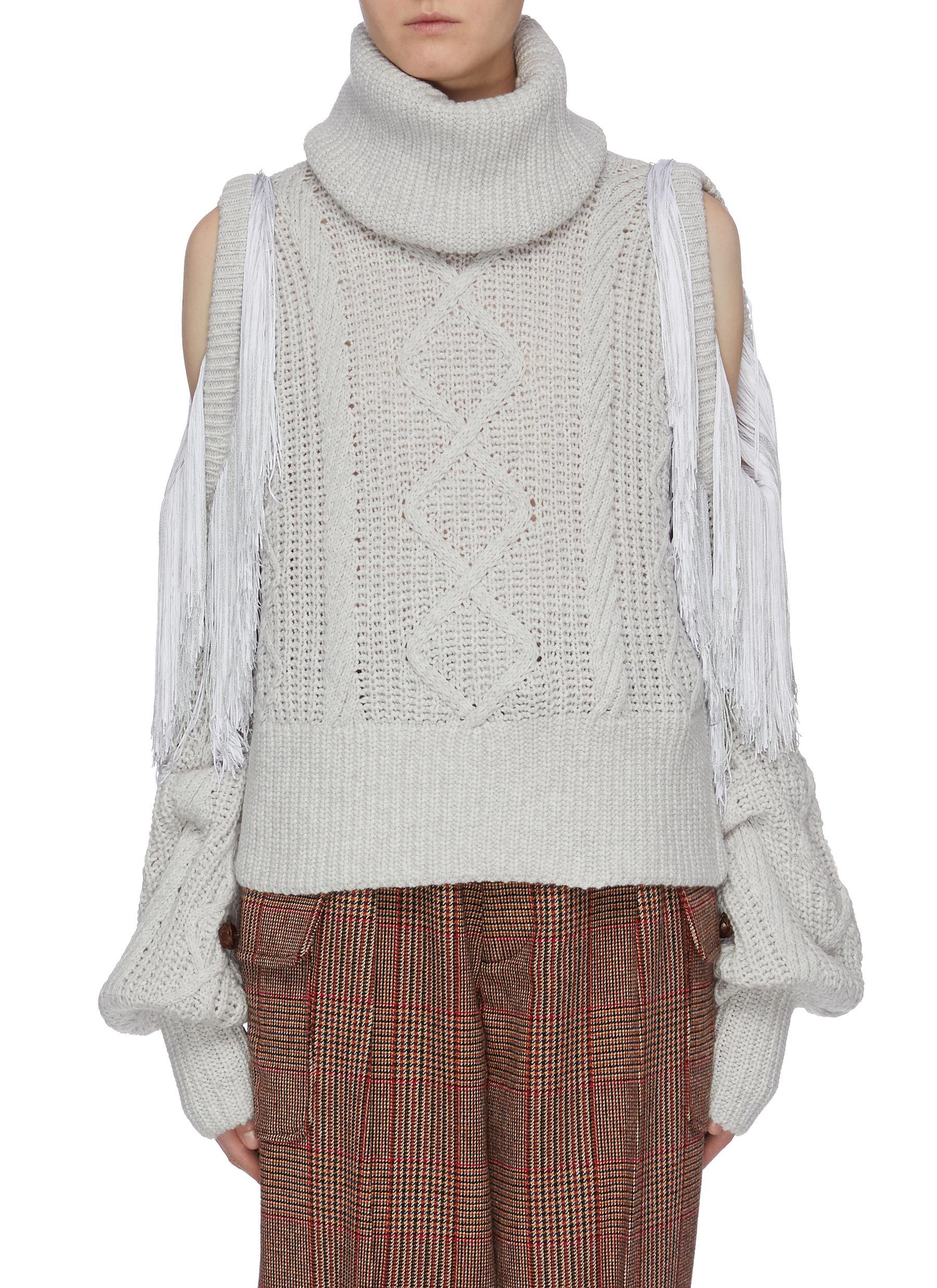 Lawrence fringe cold shoulder turtleneck sweater by Hellessy