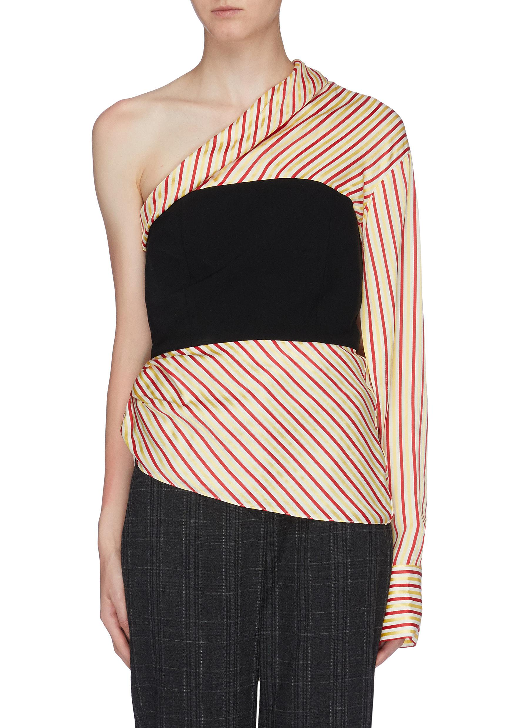 Paloma contrast bustier panel stripe one-shoulder top by Hellessy