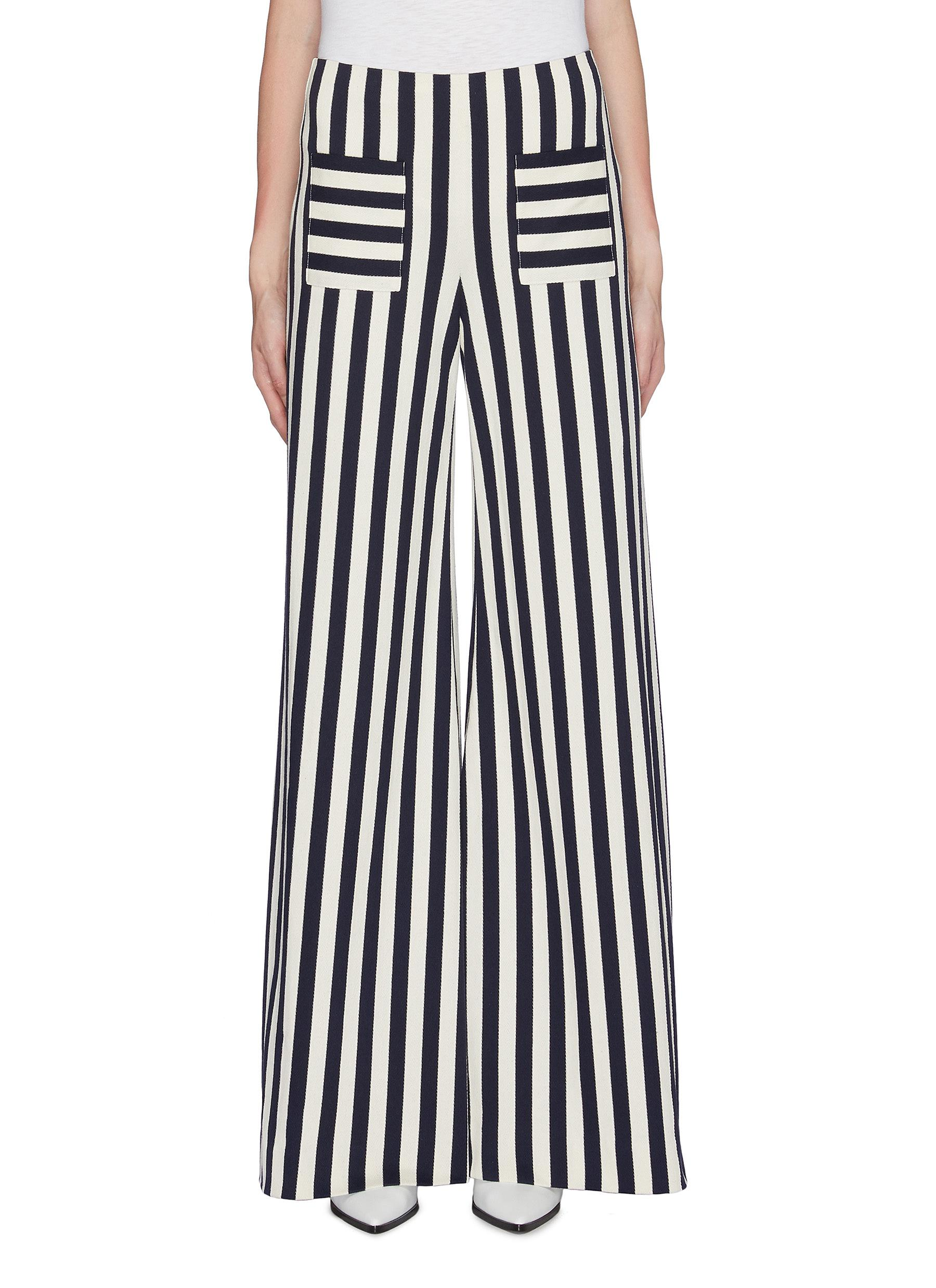 Luc patch pocket stripe twill herringbone wide leg pants by Hellessy
