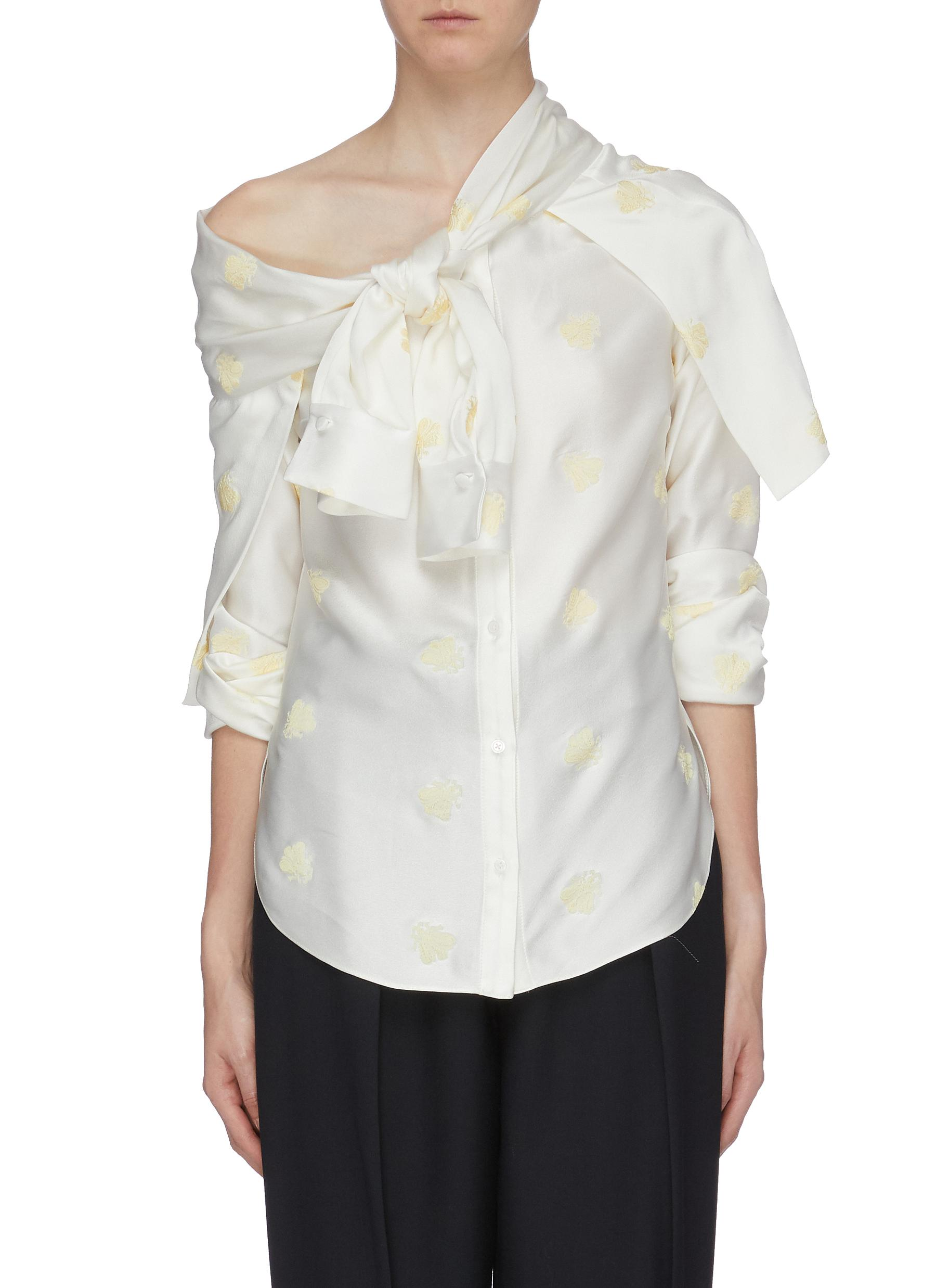 Leandra knot panel bee embroidered one-shoulder shirt by Hellessy