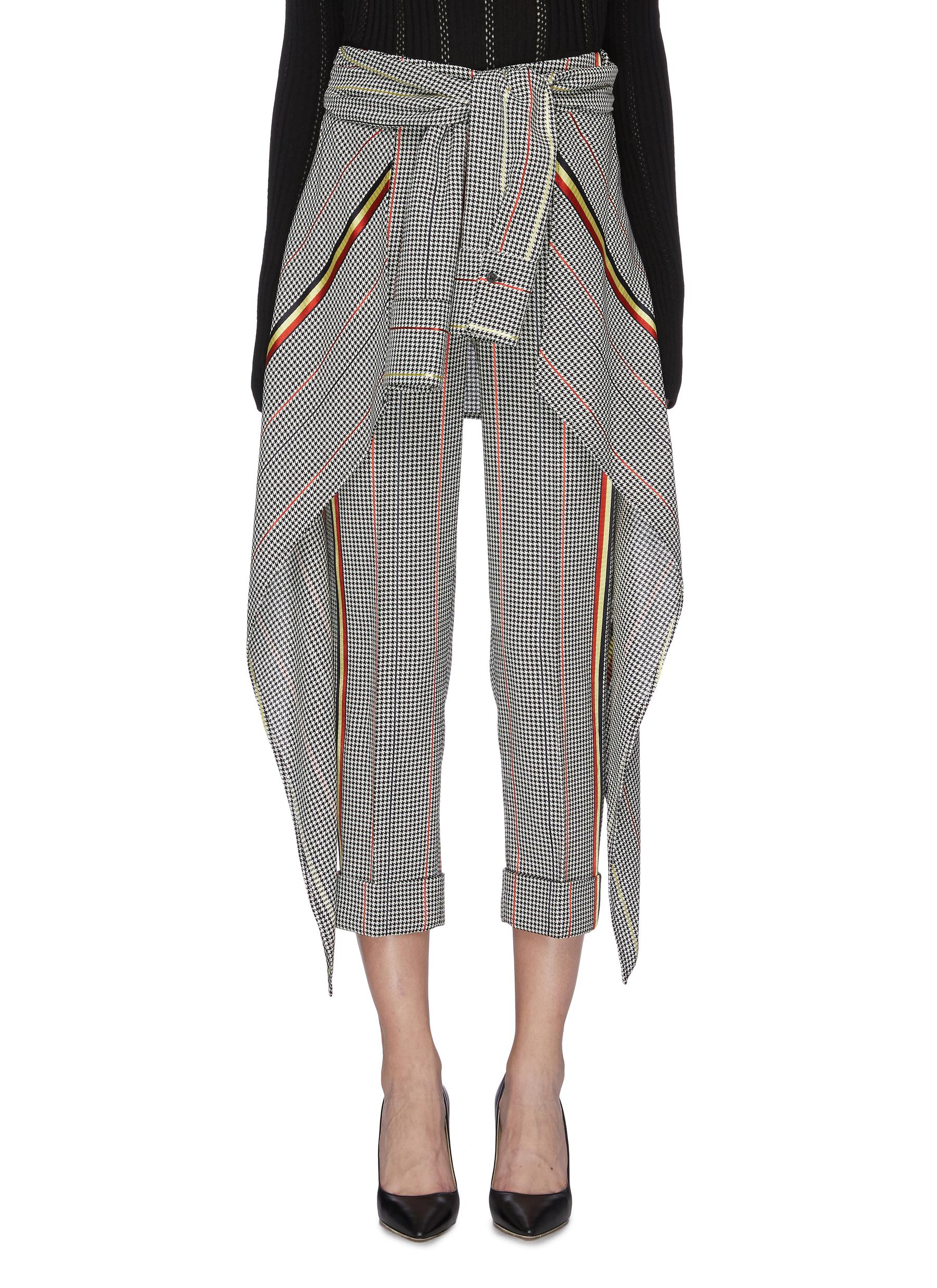 Avedon tie waist drape panel houndstooth check pants by Hellessy