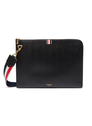 Main View - Click To Enlarge - THOM BROWNE - Large pebble grain leather crossbody folio pouch