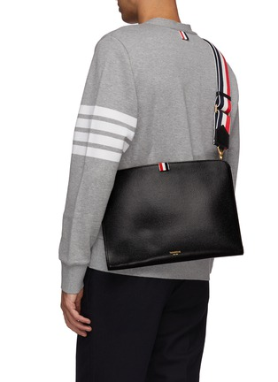 Figure View - Click To Enlarge - THOM BROWNE - Large pebble grain leather crossbody folio pouch