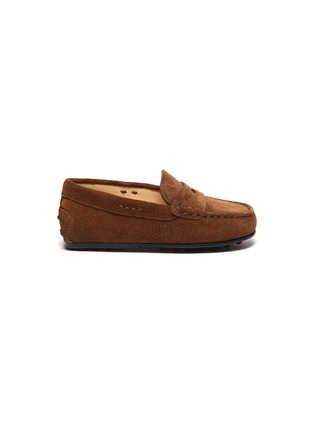 Main View - Click To Enlarge - TOD'S - 'Benson City Gommino' suede kids loafers
