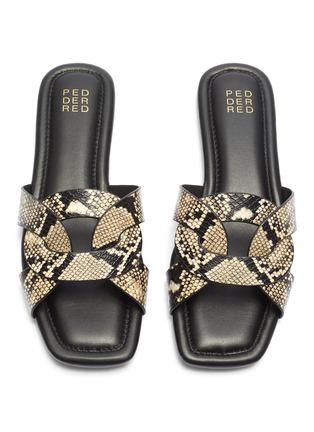 Detail View - Click To Enlarge - PEDDER RED - 'Cameron' loop snake embossed leather slide sandals
