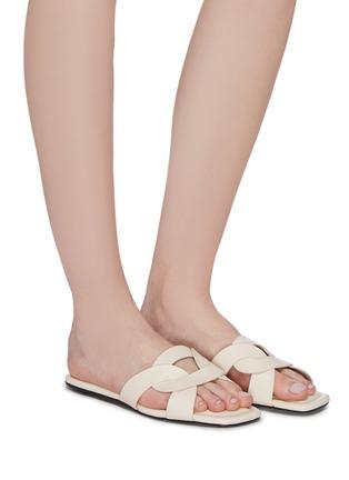 Figure View - Click To Enlarge - PEDDER RED - 'Cameron' loop leather slide sandals