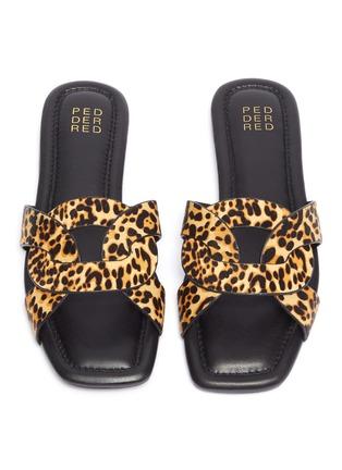 Detail View - Click To Enlarge - PEDDER RED - 'Cameron' loop leopard print pony hair slide sandals