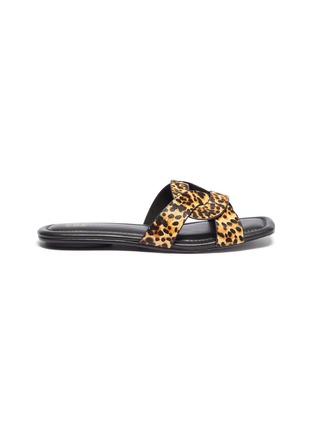 Main View - Click To Enlarge - PEDDER RED - 'Cameron' loop leopard print pony hair slide sandals