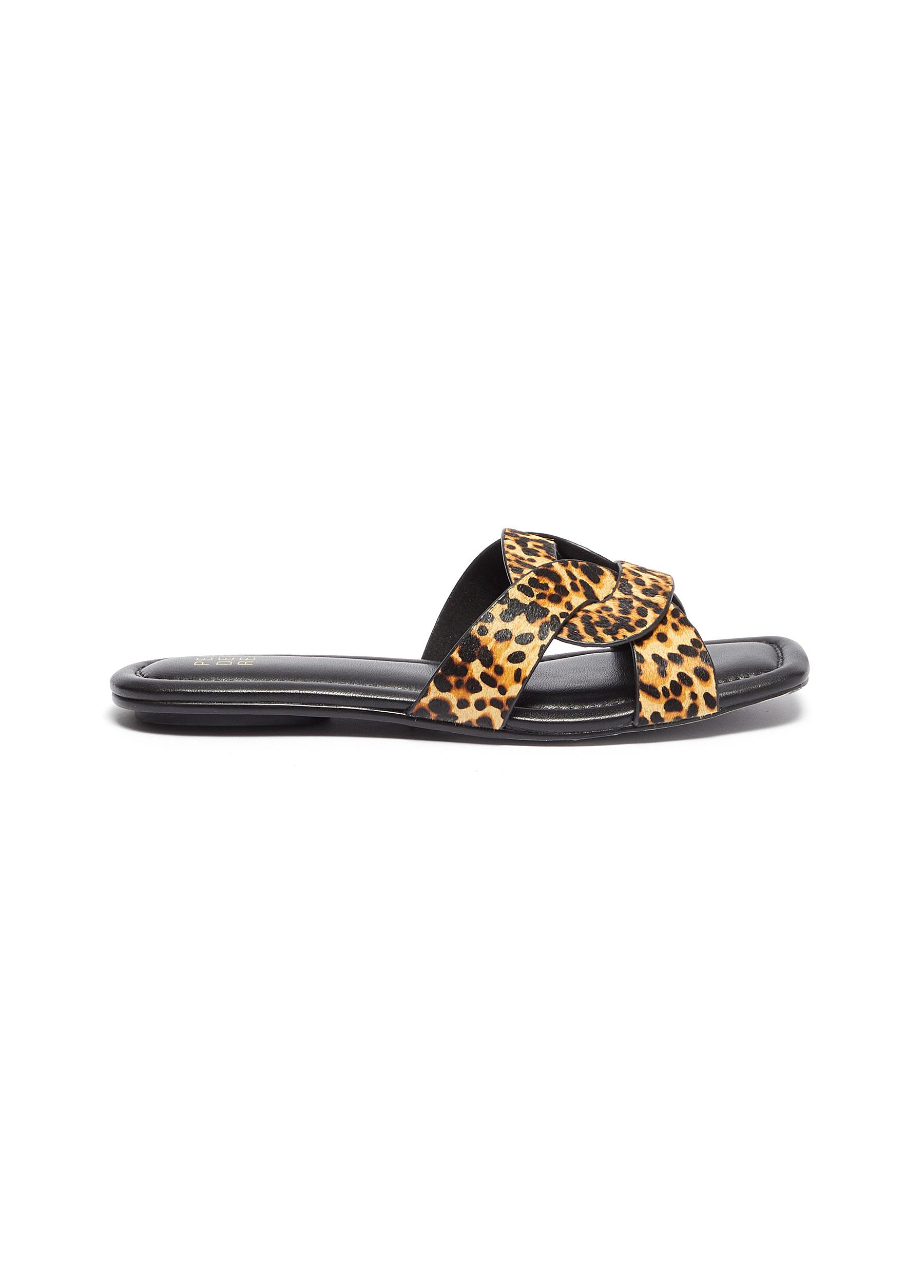 Cameron loop leopard print pony hair slide sandals by Pedder Red