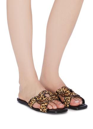 Figure View - Click To Enlarge - PEDDER RED - 'Cameron' loop leopard print pony hair slide sandals