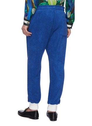 Back View - Click To Enlarge - CASABLANCA - Contrast cuff logo embroidered terry cotton track pants