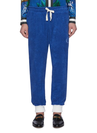 Main View - Click To Enlarge - CASABLANCA - Contrast cuff logo embroidered terry cotton track pants